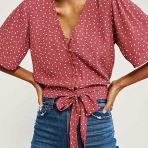 Abercrombie & Fitch Flutter Sleeve Top